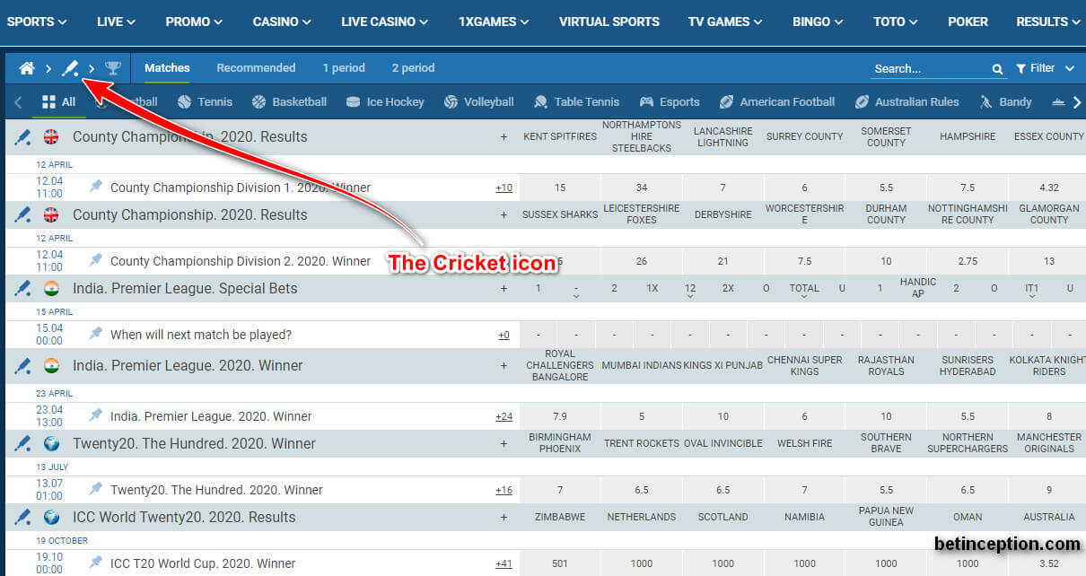 The cricket icon 1xBet