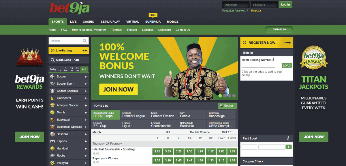 bet9ja home page